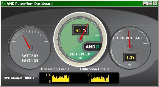 AMD Dashboard showing 1.3v and 90% speed