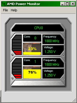 AMD Power Monitor showing 1.25V and 1800 MHz