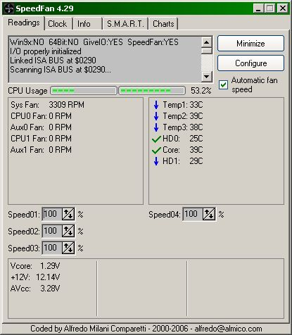 SpeedFan showing core temp at 42°C and mobo temp at 44-45°C