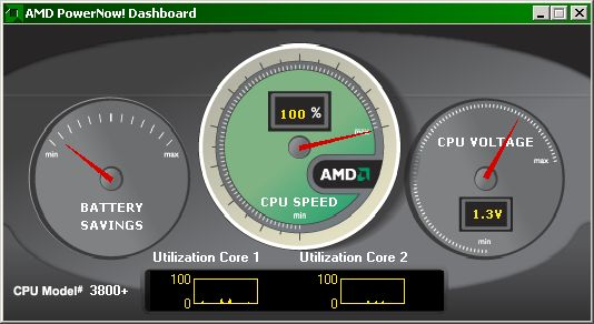 AMD Dashboard showing 1.3v and 100% speed