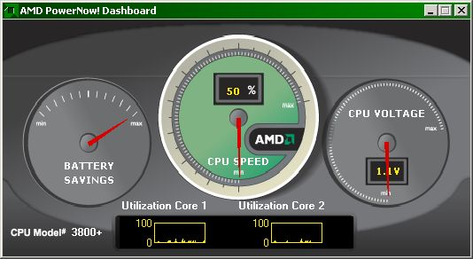 AMD Dashboard showing 1.1v and 50% speed