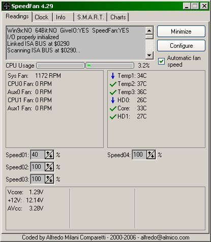 SpeedFan showing core temp at 34°C and mobo temp at 36-38°C