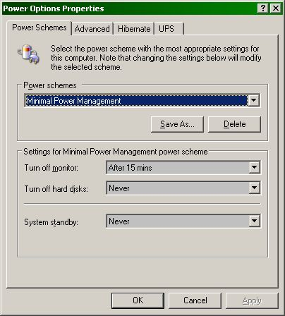 Power management: Minimal Power Management
