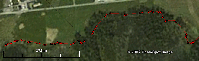 Google Earth image with gps tracking of walking path
