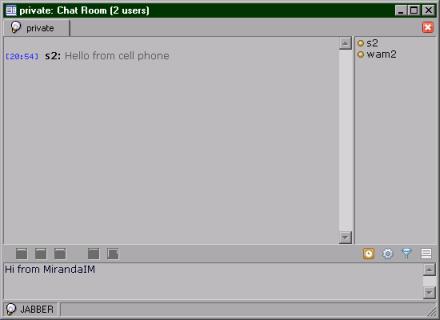 MirandaIM receives message (14 KB)
