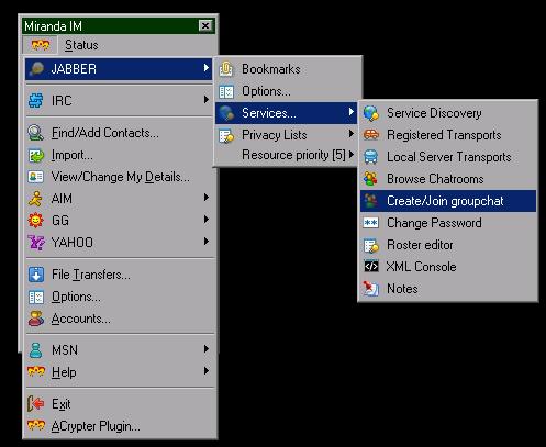 MirandaIM Chatroom menu (16 KB)