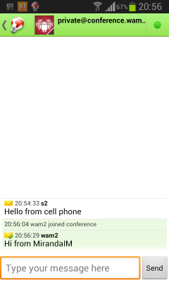 Xabber receives message from MirandaIM (21 KB)