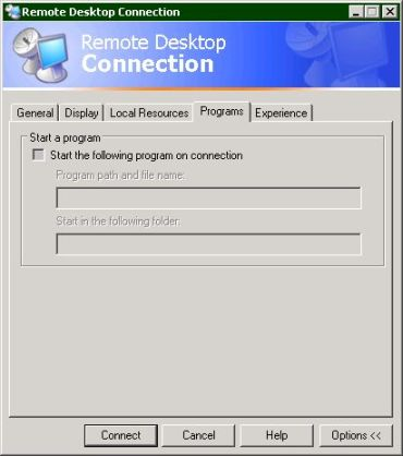 Remote Desktop client options (21k)
