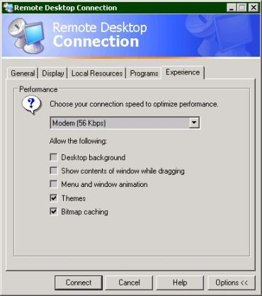 Remote Desktop client options (25k)